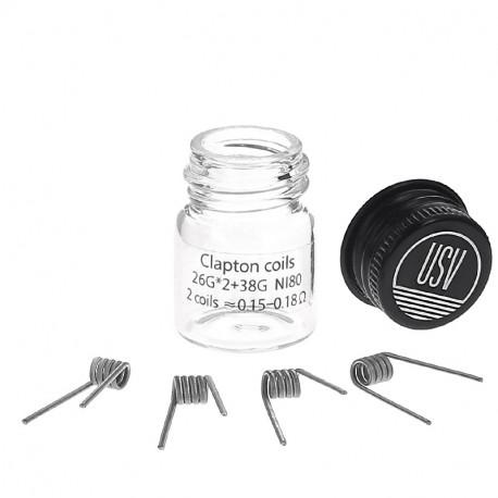 Fused Clapton Coils NI80 (x4) par USV