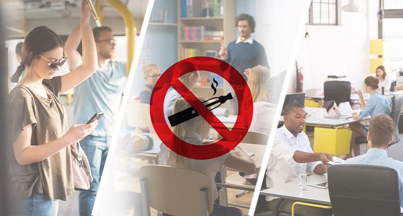 La Loi interdit de vapoter dans tous les établissements d'enseignement, les transports collectifs et dans certains espaces de travail