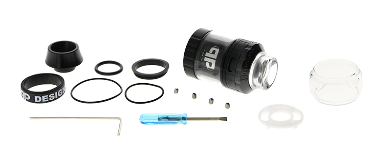 Le contenu de la boîte de l'atomiseur Juggerknot Mini V2 par QP Design