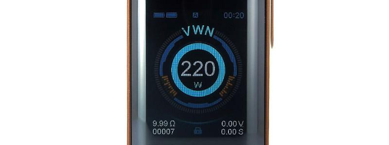 L'écran de la box Luxe 220w par Vaporesso