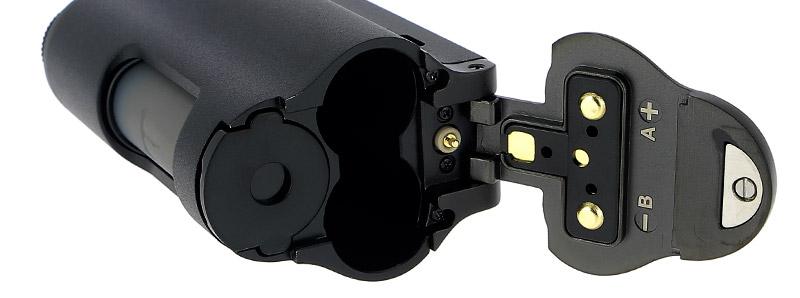 El compartimento de la batería de la caja Topside Dual 200w Squonk de Dovpo