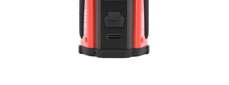 Le port micro USB-C de rechargement de la box Rhea par Aspire
