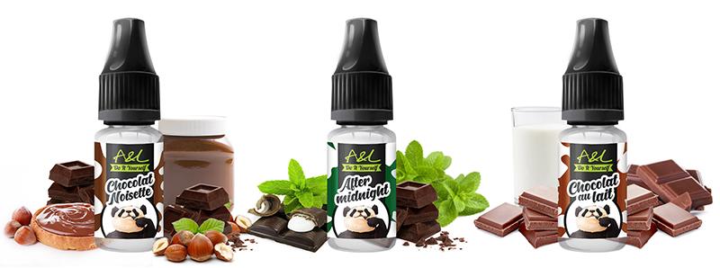 Les trois concentrés du Pack Arômes Chocolats A&L