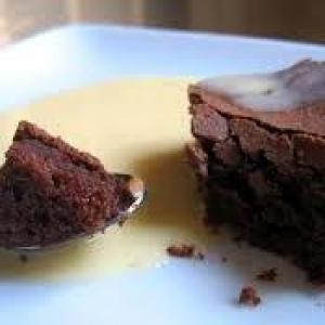 crème anglaise chocolat-vanille et brownie