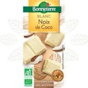 tablette chocolat blanc, coco et eclat de cookies